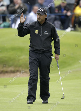 India's Jeev Milkha Singh reacts after a birdie on the 18th hole to finish seven under par day one of the Irish Open Golf Championship at Royal Portrush Golf Club, Portrush, Northern Ireland