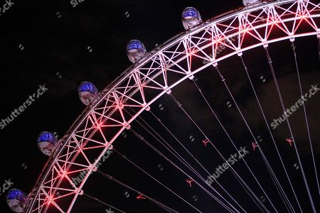 """Dancers perform on the London Eye in London as part of London 2012 Olympic Festival, . The performances """"Surprises : Streb"""" choreographed by New Yorker Elizabeth Streb took place on various London's landmarks"""