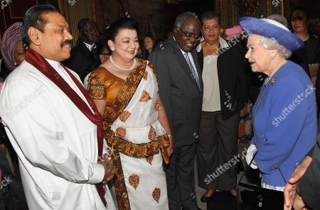 Elizabeth II Britain's Queen Elizabeth II, right, meets with Sri Lanka President Mahinda Rajapaksa, left, as his wife Shiranthi Rajapaksa, center, looks, during a reception prior to a lunch with Commonwealth Nations Heads of Government and representatives of the Commonwealth nations in central London