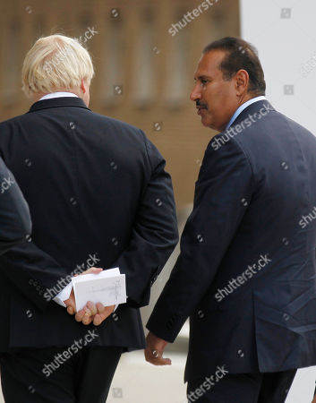 Boris Johnson, Sheikh Hamad Bin Jassim Bin Jabr Al-Thani Qatar's Prime Minister Sheikh Hamad Bin Jassim Bin Jabr Al-Thani, right, talks to Mayor of London Boris Johnson as he arrives for the inauguration of the Shard, Western Europe's tallest building, London, . The Shard is 309.6 meters tall (1,016 feet) and features high quality offices, a 5-star hotel with more than 200 rooms and suites and 3 floors of restaurants. It will also feature exclusive super prime residential apartments and the top levels will consist of the capital's highest public viewing gallery offering 360° views of London