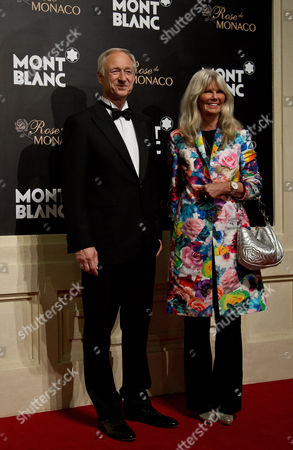 Stock Photo of Lutz Bethge, Ingrid Roosen-Trinks Mont Blanc CEO Lutz Bethge, left, poses with Ingrid Roosen-Trinks, director Mont Blanc Cultural Foundation at a red carpet of the Mont Blanc's new Princesse Grace de Monaco jewelry collection held inside the Mont Blanc concept store in Beijing, China