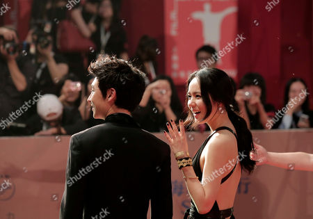 Han Ga-in, Lee Je-hoon South Korean actors Han Ga-in, right, and Lee Je-hoon pose on the red carpet prior to the closing ceremony of the Shanghai International Film Festival at Shanghai Grand Theater in Shanghai, China