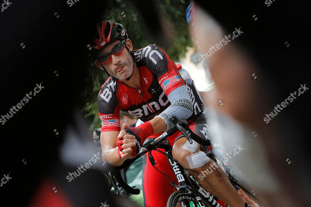 George Hincapie of The US waits for the start of the 17th stage of the Tour de France cycling race over 143.5 kilometers (89.2 miles) with start in Bagneres-de-Luchon and finish in Peyragudes, Pyrenees region, France