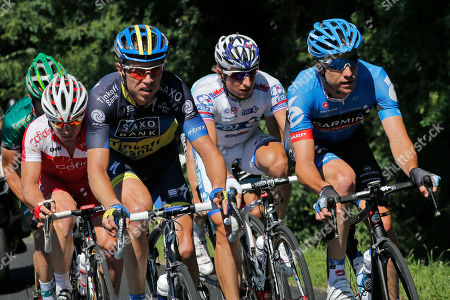 From left, Thomas Voeckler of France, Samuel Dumoulin of France, Nicki Sorensen of Denmark, Stage winner Pierrick Fedrigo of France, and Christian Vandevelde of the US, ride in the breakaway group during the 15th stage of the Tour de France cycling race over 158.5 kilometers (98.5 miles) with start in Samatan and finish in Pau, France