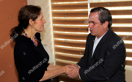 Ecuador's Foreign Minister Ricardo Patino, right, shakes hands with the mother of WikiLeaks founder Julian Assange, Christine Assange, during their meeting in Quito, Ecuador, . Christine Assange is in Quito to appeal to Ecuador's government to grant her son asylum. The 40-year-old Australian has been holed up inside the Ecuadorian Embassy in London since applying for political asylum on June 19