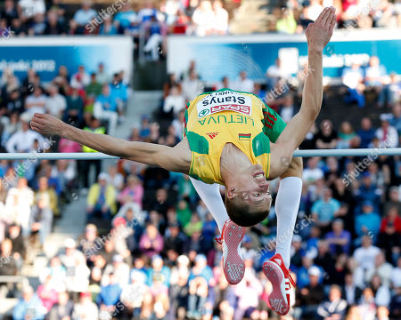 Stock Image of Lithuania's Raivydas Stanys makes an attempt in the Men's High Jump final at the European Athletics Championships in Helsinki, Finland