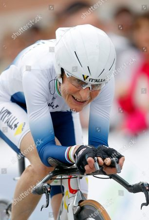 Jeannie Longo French cyclist Jeannie Longo, 53, pedals on her way during the time trial stage of the French cycling championship in St Amand, northern France