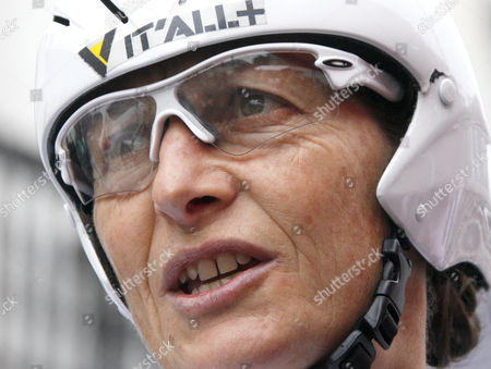French cyclist Jeannie Longo, 53, is seen before the time trial stage of the French cycling championship in St Amand, northern France