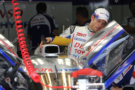 Alexander Wurz Toyota's driver Alexander Wurz of Austria is seen in his pit at the start of the qualifying practice session of the 80th 24-hour Le Mans endurance race, in Le Mans, western France, . The race will begin on Saturday, June 16