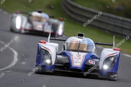 The Toyota Hybrid No7 driven by Alexander Wurz of Austria, Nicolas Lapierre of France and Kazuki Nakajima of Japan is seen in action during the 80th 24-hour Le Mans endurance race, in Le Mans, western France