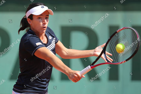 Alberta Brianti of Italy returns in her first round match against Victoria Azarenka of Belarus at the French Open tennis tournament in Roland Garros stadium in Paris