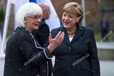 Angela Merkel, Johanna Sigurdardottir German Chancellor Angela Merkel, right, welcomes Iceland's Prime Minister Johanna Sigurdardottir for the Council of the Baltic Sea States in Stralsund, Germany