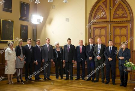 Angela Merkel, José Manuel Barroso, Valentina Pivnenko, Ida Aucken, Andrus Ansip, Jyrki Katainen, Igor Shuvalov, Johanna Sigurdardottir, Valdis Dombrovskis, Andrius Kubilius, Jens Stoltenberg, Frederik Reinfeldt Chairman of the Baltic Sea Parliamentary Conference Valentina Pivnenko, Danish Environment Minister Ida Aucken, Estonia's Prime Minister Andrus Ansip, Finland's Prime Minister Jyrki Katainen, Russian Federation's First Deputy Prime Minister Igor Shuvalov, Iceland's Prime Minister Johanna Sigurdardottir, Latvia's Prime Minister Valdis Dombrovskis, Lithuania's Prime Minister Andrius Kubilius, Norway's Prime Minister Jens Stoltenberg, Sweden's Prime Minister Frederik Reinfeldt, President of the European Commission Jose Manuel Barroso and German Chancellor Angela Merkel, from left, attend a welcoming ceremony for the Council of the Baltic Sea States in Stralsund, Germany