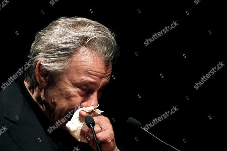 Stock Image of Harvey Keitel American actor Harvey Keitel shows his motion as he speaks, in Athens, on . Keitel attended a tribute for Greek filmmaker Theo Angelopoulos who died in an accident on a movie set earlier this year
