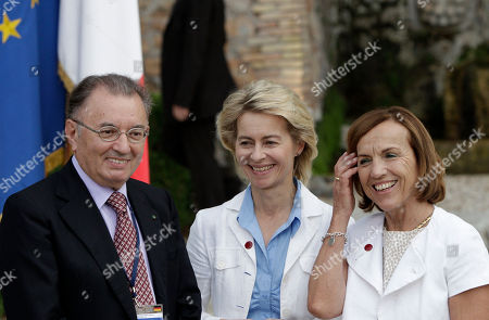 Giorgio Squinzi, Ursula von der Leyen, Elsa Fornero From left, Giorgio Squinzi, President of the Confindustria (Italian Entrepreneurs Association), German Labor Minister Ursula von der Leyen and her Italian counterpart Elsa Fornero smile at the end of a bilateral meeting between Italian Premier Mario Monti and German Chancellor Angela Merkel at Villa Madama in Rome, . Mario Monti insisted Wednesday Italy doesn't need a European bailout because its public finances will improve, but acknowledges work still needs to be done to cut government spending, boost economic growth and create jobs