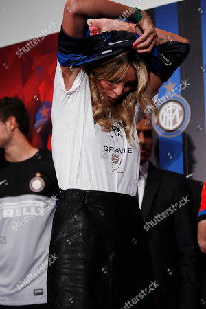 Italian showgirl Elenoire Casalegno attends the unveiling of the new Inter Milan jersey for the 2012/13 season, in Milan, Italy