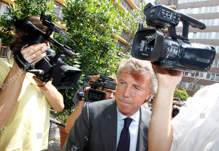Genoa president Enrico Preziosi arrives at theSoccer League headquarter to attend a meeting, in Milan, Italy