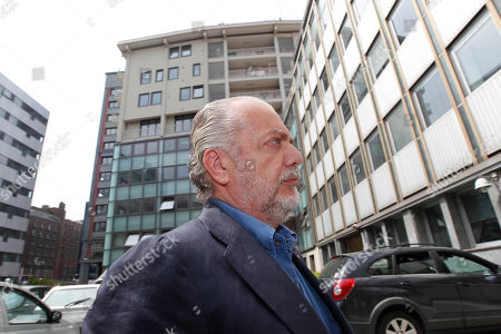 Napoli soccer club president Aurelio De Laurentis arrives at the Lega Calcio headquarter to attend a meeting, in Milan, Italy