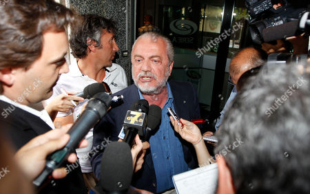 Napoli soccer club president Aurelio De Laurentis argues with reporters as he arrives at the Lega Calcio headquarter to attend a meeting, in Milan, Italy