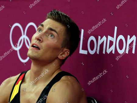 German gymnast Philipp Boy rests during the Artistic Gymnastics men's qualification at the 2012 Summer Olympics, in London