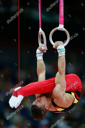 German gymnast Philipp Boy performs on the rings during the Artistic Gymnastics men's qualification at the 2012 Summer Olympics, in London