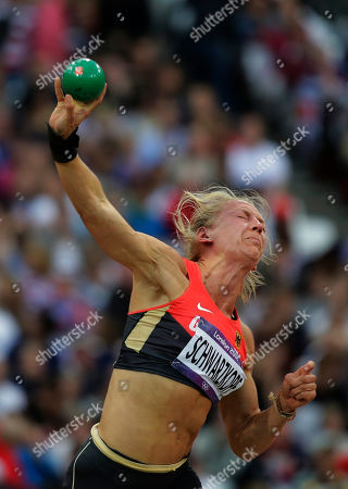 Germany's Lilli Schwarzkopf competes in the shot put of the women's heptathlon during the athletics competition in the Olympic Stadium at the 2012 Summer Olympics, London