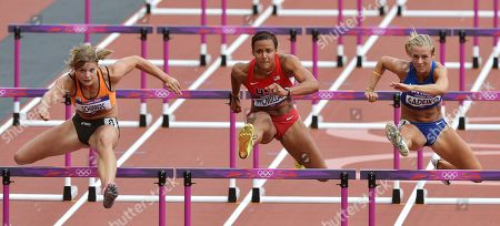 Netherlands' Dafne Schippers, United States' Chantae McMillan and Estonia's Grit Sadeiko, from left, compete in the 100-meter hurdles of the Women's Heptathlon during the athletics in the Olympic Stadium at the 2012 Summer Olympics, London
