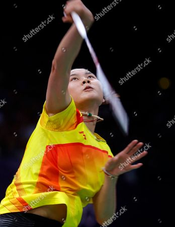 China's Wang Yihan, plays against South Korea's Bae Yeon-ju, unseen, at a women's singles badminton match of the 2012 Summer Olympics, in London