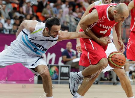 Radhouane Slimane, Manu Ginobili Tunisia's Radhouane Slimane, right, grabs Argentina's Manu Ginobili's hand as they chase a loose ball during a men's basketball game at the 2012 Summer Olympics, in London