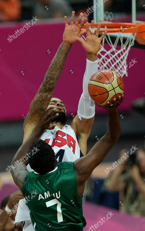 Tyson Chandler, Al-Farouq Aminu United States' Tyson Chandler blocks Nigeria's Al-Farouq Aminu (7) during a men's basketball game at the 2012 Summer Olympics, in London