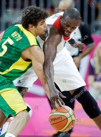 Raul Neto, Luol Deng Brazil's Raul Neto (5) and Britain's Luol Deng, right, compete for a loose ball during the first half of a preliminary men's basketball game at the 2012 Summer Olympics, in London