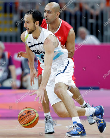 Stock Picture of Manu Ginobili, Radhouane Slimane Argentina's Manu Ginobili, left, dribbles past Tunisia's Radhouane Slimane, right, during a preliminary men's basketball game at the 2012 Summer Olympics, in London