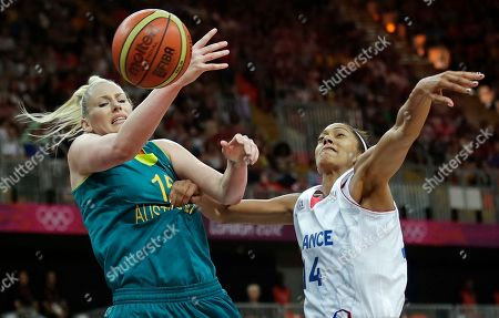 Lauren Jackson, Emmeline Ndongue Australia's Lauren Jackson, left, tries to get a grip on the ball as France's Emmeline Ndongue defends during a women's basketball game at the 2012 Summer Olympics, in London