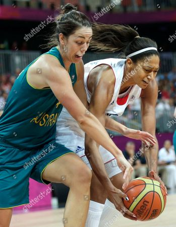 Jenna O'Hea, Emmeline Ndongue Australia's Jenna O'Hea, left, and France's Emmeline Ndongue reach for a loose ball during a women's basketball game at the 2012 Summer Olympics, in London