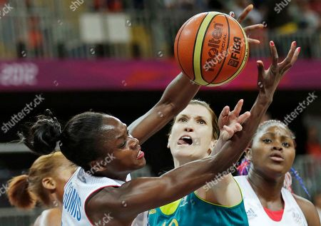 Emilie Gomis, Belinda Snell France's Emilie Gomis, left, reaches for a rebound against Australia's Belinda Snell during a women's basketball game at the 2012 Summer Olympics, in London