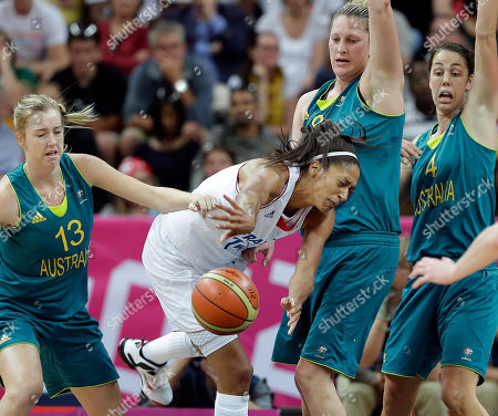 Emmeline Ndongue, Suzy Batkovic, Rachel Jarry, Jenna O'Hea France's Emmeline Ndongue, center, crashes into Australia's Suzy Batkovic (8) as Rachel Jarry (13) and Jenna O'Hea (4) assist on the play during the second half of a preliminary women's basketball game at the 2012 Summer Olympics, in London