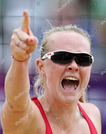 Shauna Mullin from Great Britain reacts during the Beach Volleyball match against Canada at the 2012 Summer Olympics, in London
