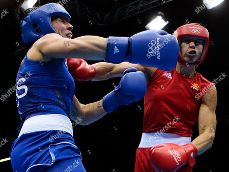 Australia's Naomi-Lee Fisher-Rasmussen, fights, Sweden's Anna Laurell, fight during the women's 75-kg middleweight boxing competition at the 2012 Summer Olympics, in London