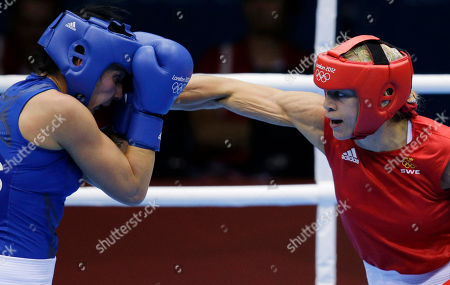 Naomi-Lee Fischer-Rasmussen, Anna Laurell Sweden's Anna Laurell, right, punches, Australia's Naomi-Lee Fisher-Rasmussen, during the women's 75-kg middleweight boxing competition at the 2012 Summer Olympics, in London