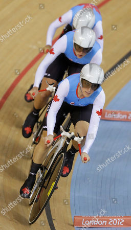Tara Whitten, Gillian Carleton, Jasmin Glaesser Tara Whitten, right, leads Gillian Carleton, center, and Jasmin Glaesser of the Canadian team to a Bronze medal in the women's team pursuit event in the velodrome during the 2012 Summer Olympics, in London. The British women's pursuit track cycling team shattered its own world record for the second time Saturday and beat the United States to win the Olympic gold medal