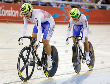 Lee Eun Ji, Lee Hyejin South Korea's Lee Eun Ji, left, and Lee Hyejin, right, compete in a track cycling women's team sprint heat, at the velodrome during the 2012 Summer Olympics, in London