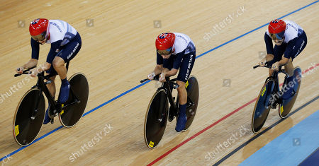 Stock Picture of Dani King, Joanna Roswell, Laura Trott Britain's Dani King, right, Joanna Roswell, right, and Laura Trott, left, celebrate after setting a world record during a track cycling women's team pursuit event, during the 2012 Summer Olympics, in London. The British team posted a time of 3 minutes, 15.669 seconds to break the mark of 3:15.720 they set at the world championships in April