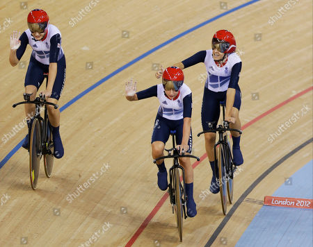 Stock Photo of Dani King, Joanna Roswell, Laura Trott Britain's Dani King, right, Joanna Roswell, right, and Laura Trott, left, celebrate after setting a world record during a track cycling women's team pursuit event, during the 2012 Summer Olympics, in London. The British team posted a time of 3 minutes, 15.669 seconds to break the mark of 3:15.720 they set at the world championships in April