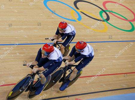 Dani King, Joanna Roswell, Laura Trott Britain's Dani King, left, Joanna Roswell, right, and Laura Trott, above, compete on their way to set a world record during a track cycling women's team pursuit event, during the 2012 Summer Olympics, in London. The British team posted a time of 3 minutes, 15.669 seconds to break the mark of 3:15.720 they set at the world championships in April. It was the seventh world record to fall during the first two days of track cycling at the London Games
