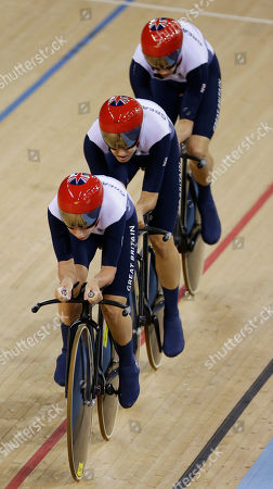 Stock Picture of Dani King, Joanna Roswell, Laura Trott Britain's Dani King, center, Joanna Roswell, left, and Laura Trott, right, compete during a track cycling women's team pursuit event, during the 2012 Summer Olympics, in London. The British team posted a time of 3 minutes, 15.669 seconds to break the mark of 3:15.720 they set at the world championships in April