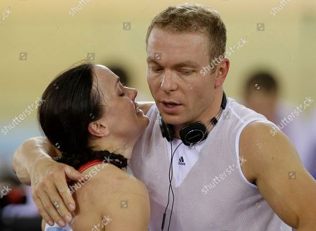 Chris Hoy, Victoria Pendleton Britain's Chris Hoy, right, comforts his teammate Victoria Pendleton after her and teammate Jessica Varnish and saw their medal hopes vanish when they were relegated for making an early change in the first round of a track cycling women's team sprint event, during the 2012 Summer Olympics, in London