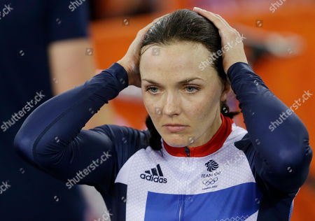 Victoria Pendleton Britain's Victoria Pendleton holds her head after her and teammate Jessica Varnish and saw their medal hopes vanish when they were relegated for making an early change in the first round of a track cycling women's team sprint event, during the 2012 Summer Olympics, in London