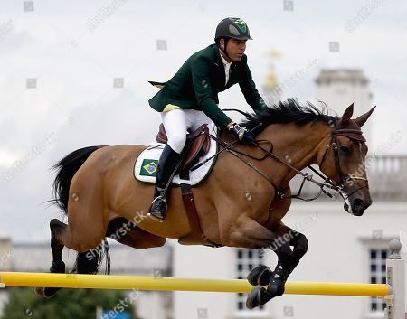 Alvaro Affonso de Miranda Neto Alvaro Affonso de Miranda Neto, of Brazil, rides Rahmannshof's Bogeno in the equestrian show jumping team competition at the 2012 Summer Olympics, in London