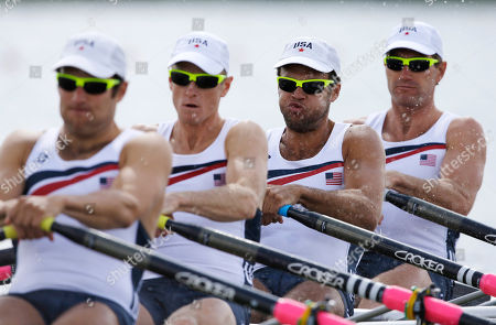 U.S. rowers, from left, Elliot Hovey, Peter Graves, Alexander Osborne and Wesley Piermarini at start of a men's rowing quadruple sculls repechage in Eton Dorney, near Windsor, England, at the 2012 Summer Olympics
