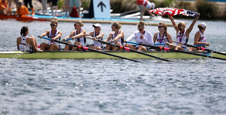 U.S. rowers, from left, Mary Whipple, Caryn Davies, Caroline Lind, Eleanor Logan, Meghan Musnicki, Taylor Ritzel, Esther Lofgren, Zsuzsanna Francia, and Erin Cafaro celebrate after winning the gold medal in Eton Dorney, near Windsor, England, at the 2012 Summer Olympics